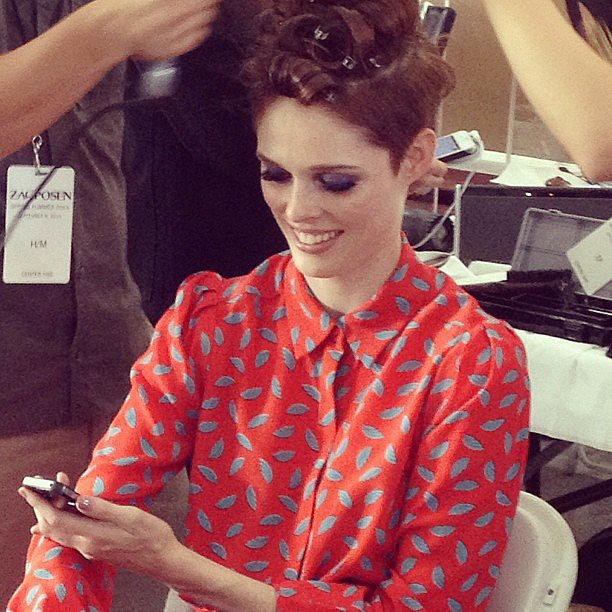 It's Coco Rocha yet again. This time we spotted her getting dolled up backstage at Zac Posen.