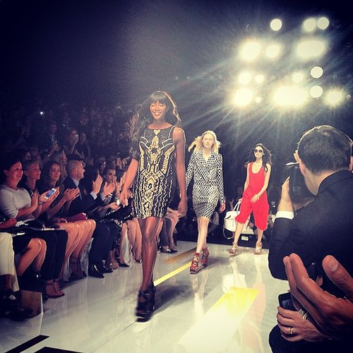 Naomi Campbell led the way down the DVF runway as the crowd cheered. Source: Instagram user chelsealeyland