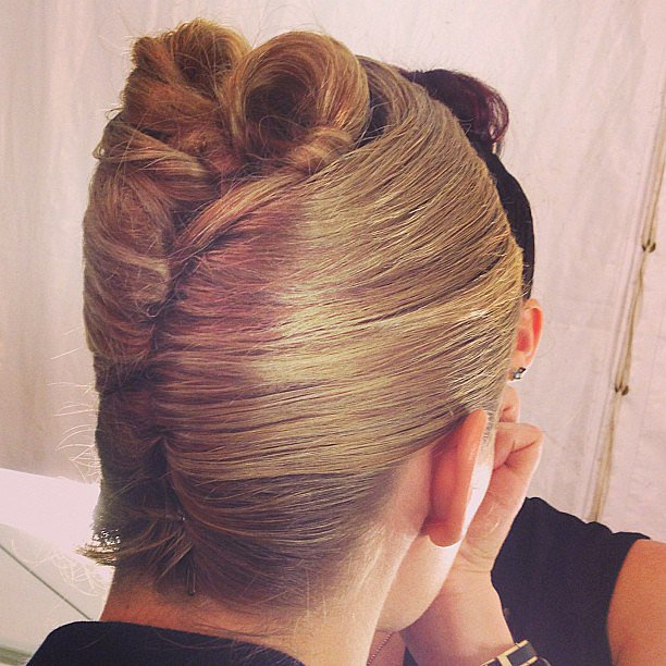 It was shell-shaped updos by Orlando Pita for the Carolina Herrera show.