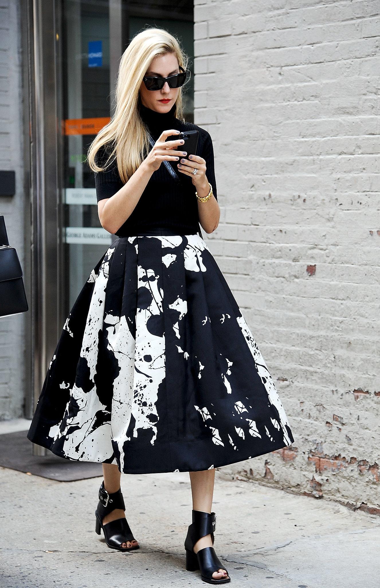 Joanna Hillman made ladylike look so cool in a paint-splattered Tibi Resort 2014 skirt.