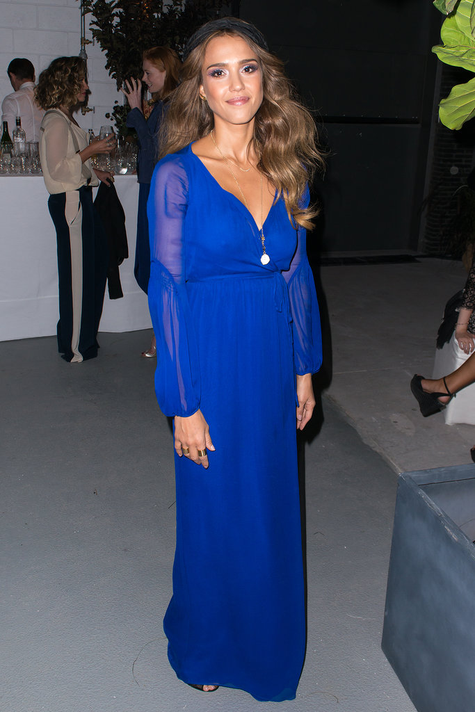 Jessica Alba brought her electric (blue) self to the Diane von Furstenberg dinner after the show. A turban-inspired headband and a bevy of gold jewels completed her ethereal look.