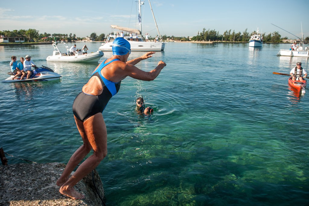 Diana Nyad swam for three days straight, completing the trek from Cuba to Florida without the use of a shark cage for protection.