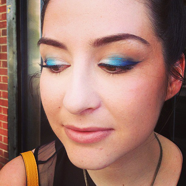 We snapped a bit of beauty street style while on the NYFW scene, like this blue ombré eye look spotted on Elle editor Christiana Molina.