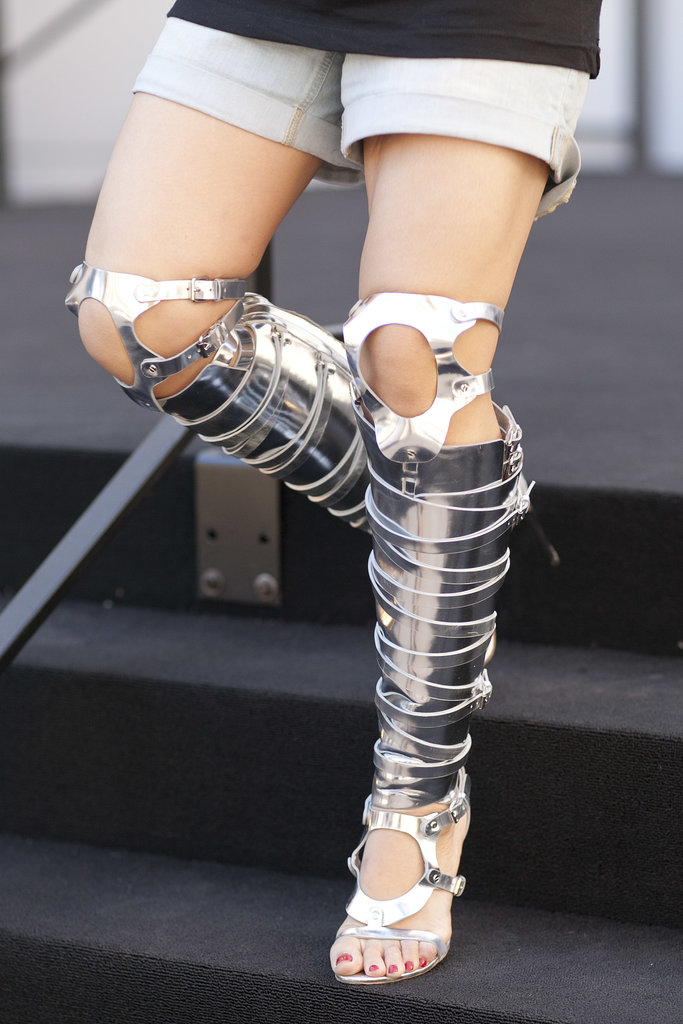 A Fashion Week warrior — with the footwear to prove it.