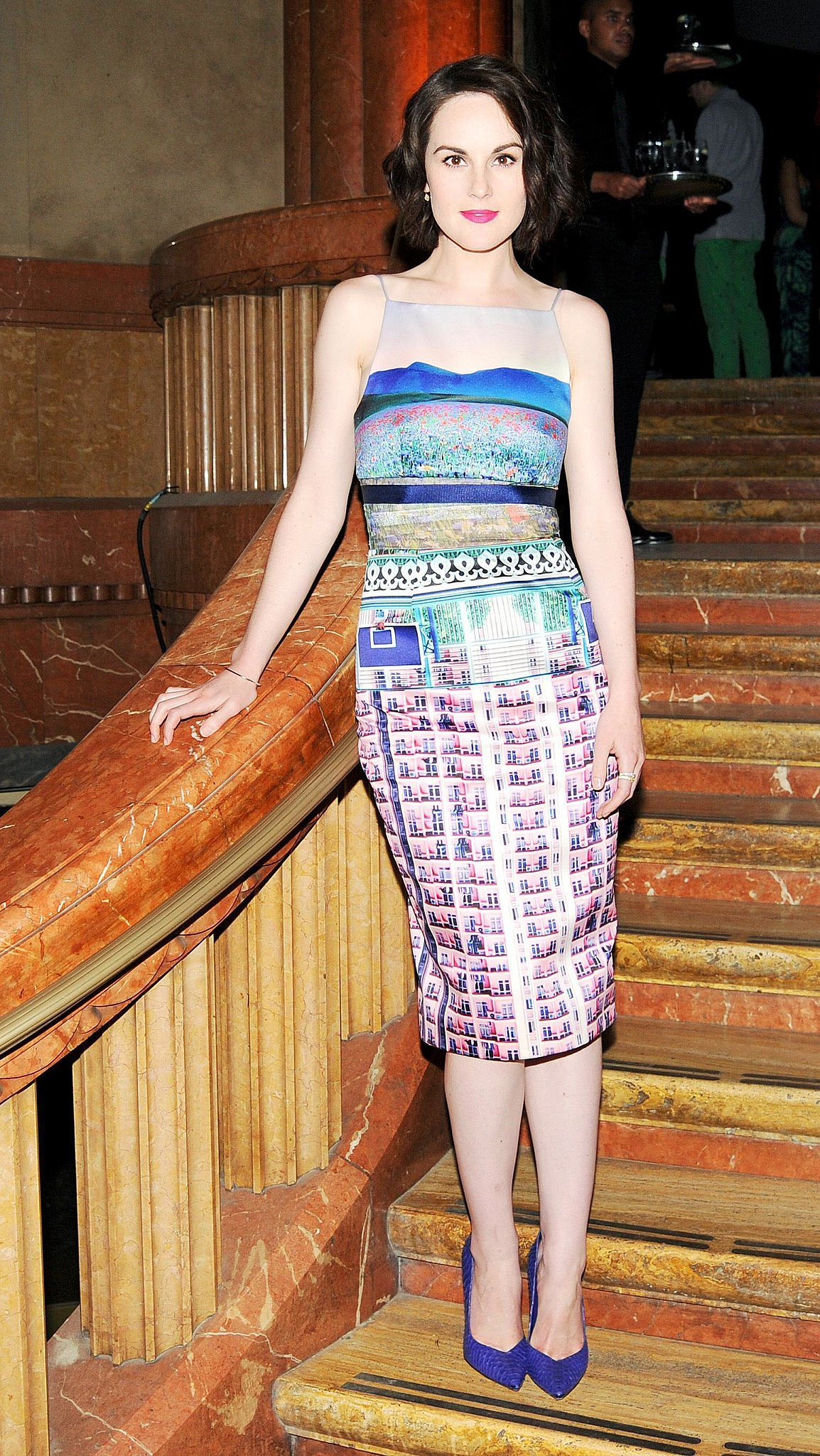 Michelle Dockery was a vision in a printed Mary Katrantzou dress and matching pumps at the Stefano Tonchi and Craig McDean cocktail party in NYC.