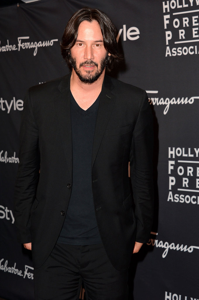 Keanu Reeves went black-on-black for the HFPA/InStyle party at the Toronto International Film Festival.
