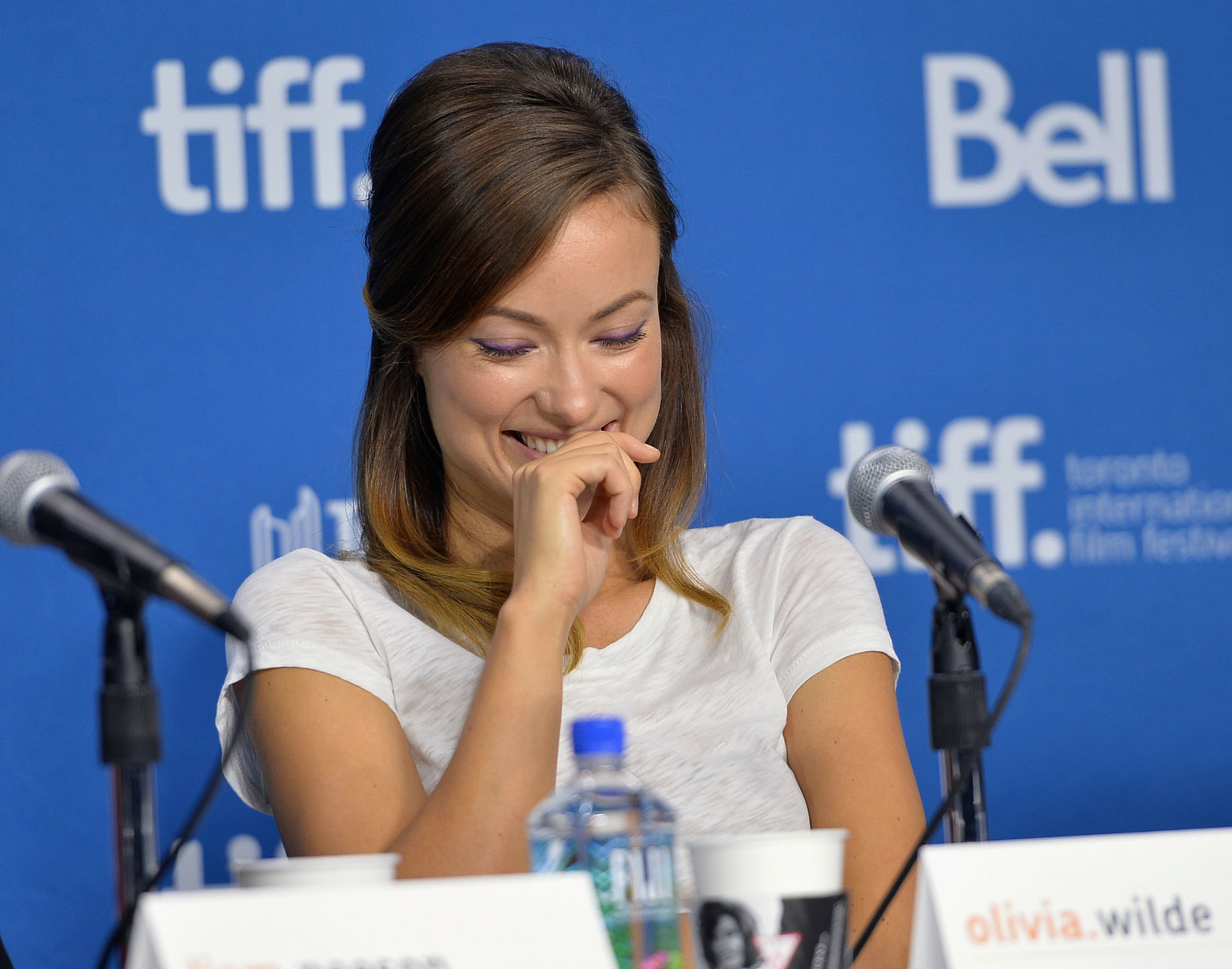 Olivia Wilde cracked up during the Third Person press conference at the Toronto International Film Festival.