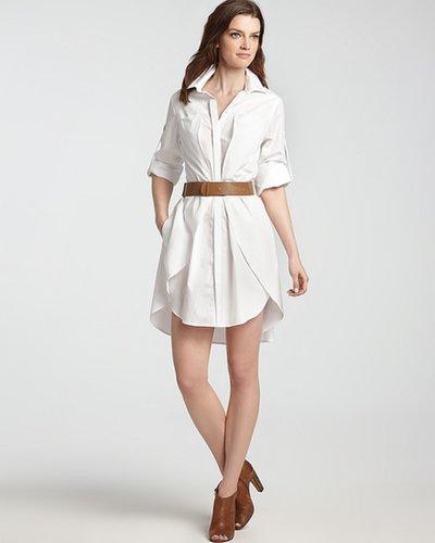 HALSTON HERITAGE Shirt Dress - Cotton with Belt