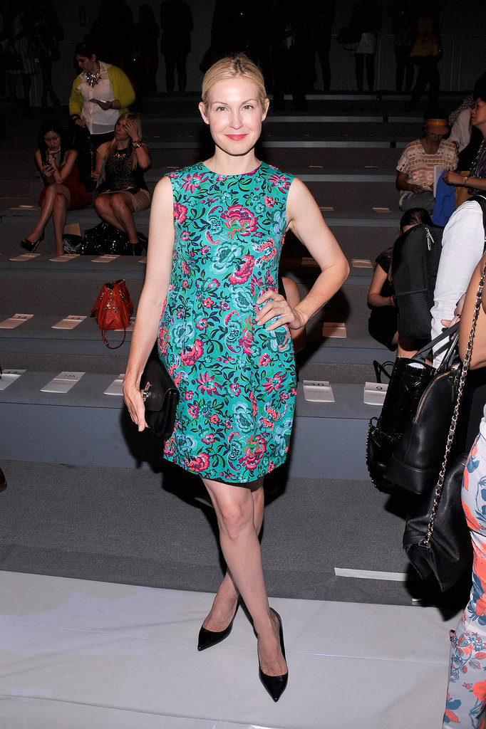 Kelly Rutherford bloomed in a floral minidress and black add-ons at Nanette Lepore.