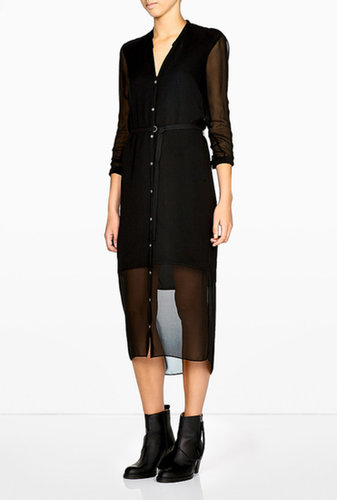 HELMUT Ghost Silk Long Belted Shirt Dress