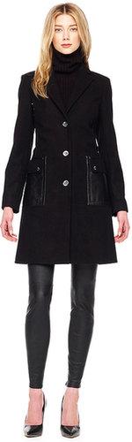 Michael Kors Leather-Trim Coat