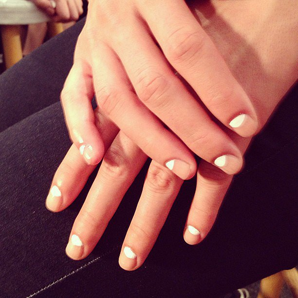 Another half-moon manicure, as seen on the Milly catwalk.
