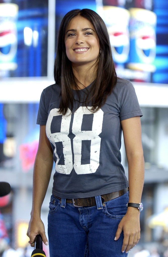 Salma Hayek stepped out for a TRL appearance in 2003.