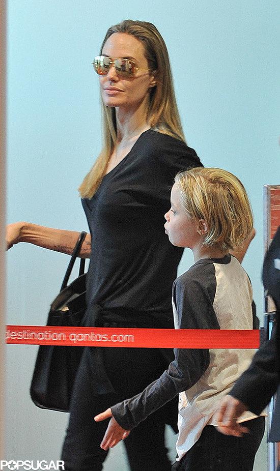 Angelina Jolie wore aviator sunglasses to take a flight in Australia.