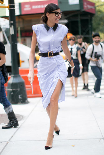 Giovanna Battaglia showed a little leg in Band of Outsiders dress.