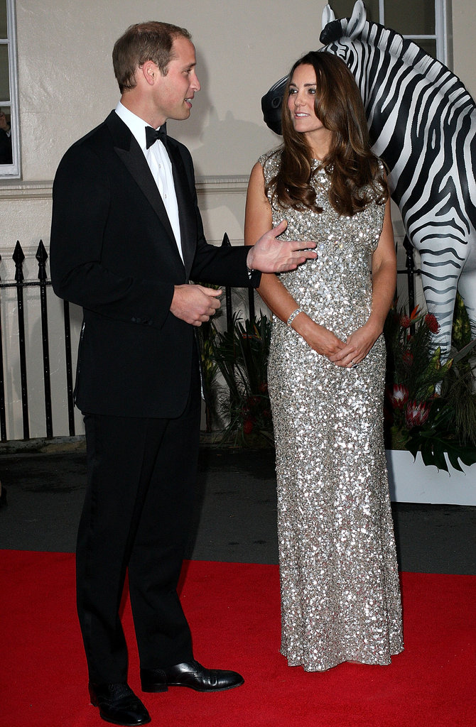 Kate Middleton sparkled in a Jenny Packham gown to accompany Prince William as the guests of honor for the Tusk Conservation Awards in London.