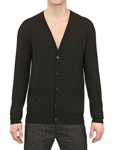 D HOMME Black Bee Embroidered Wool Cardigan