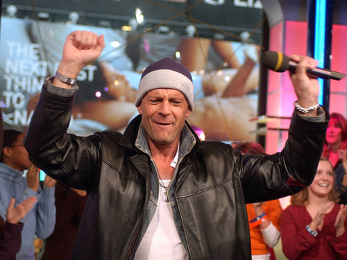 Bruce Willis had fun while hanging out on TRL in 2003.