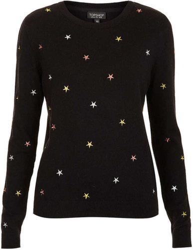 Knitted Embroidered Star Top