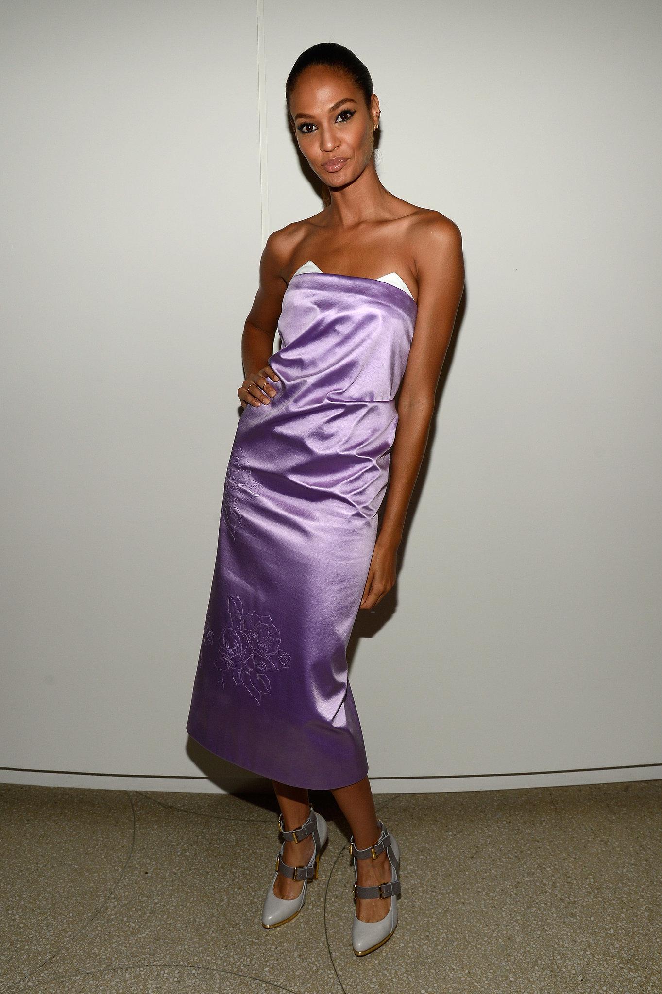 Joan Smalls wore a purple silk dress.