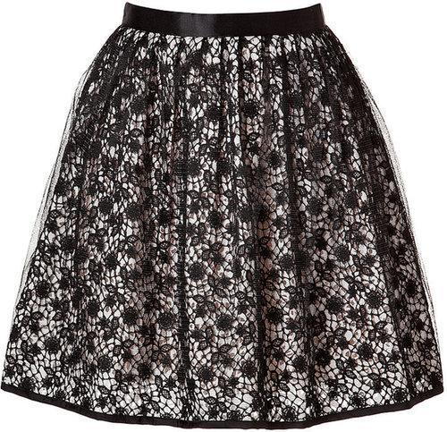 Valentino R.E.D. Tulle Overlay Crochet Lace Skirt