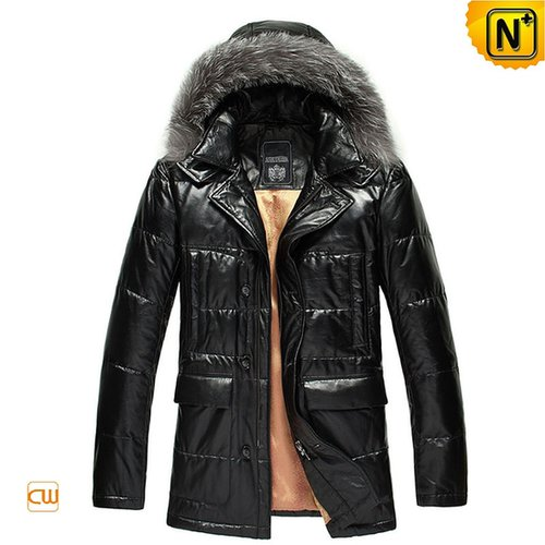 Mens Hooded Black Leather Down Jacket CW848037