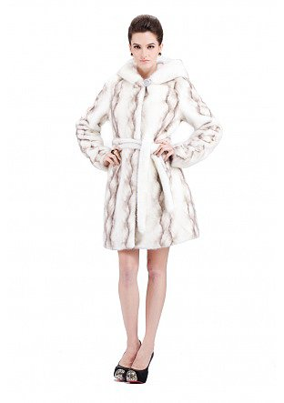 Mavis/faux white mink fur with gray twill/middle fur coat - New Products