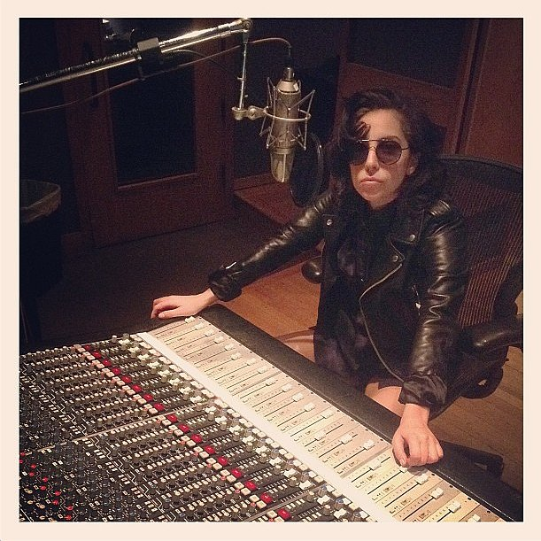 Lady Gaga was clad in leather for a session in the studio. Source: Instagram user ladygaga