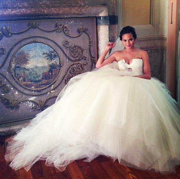 Here came the bride — Chrissy Teigen looked stunning in her Vera Wang gown. Source: Instagram user chrissyteigen