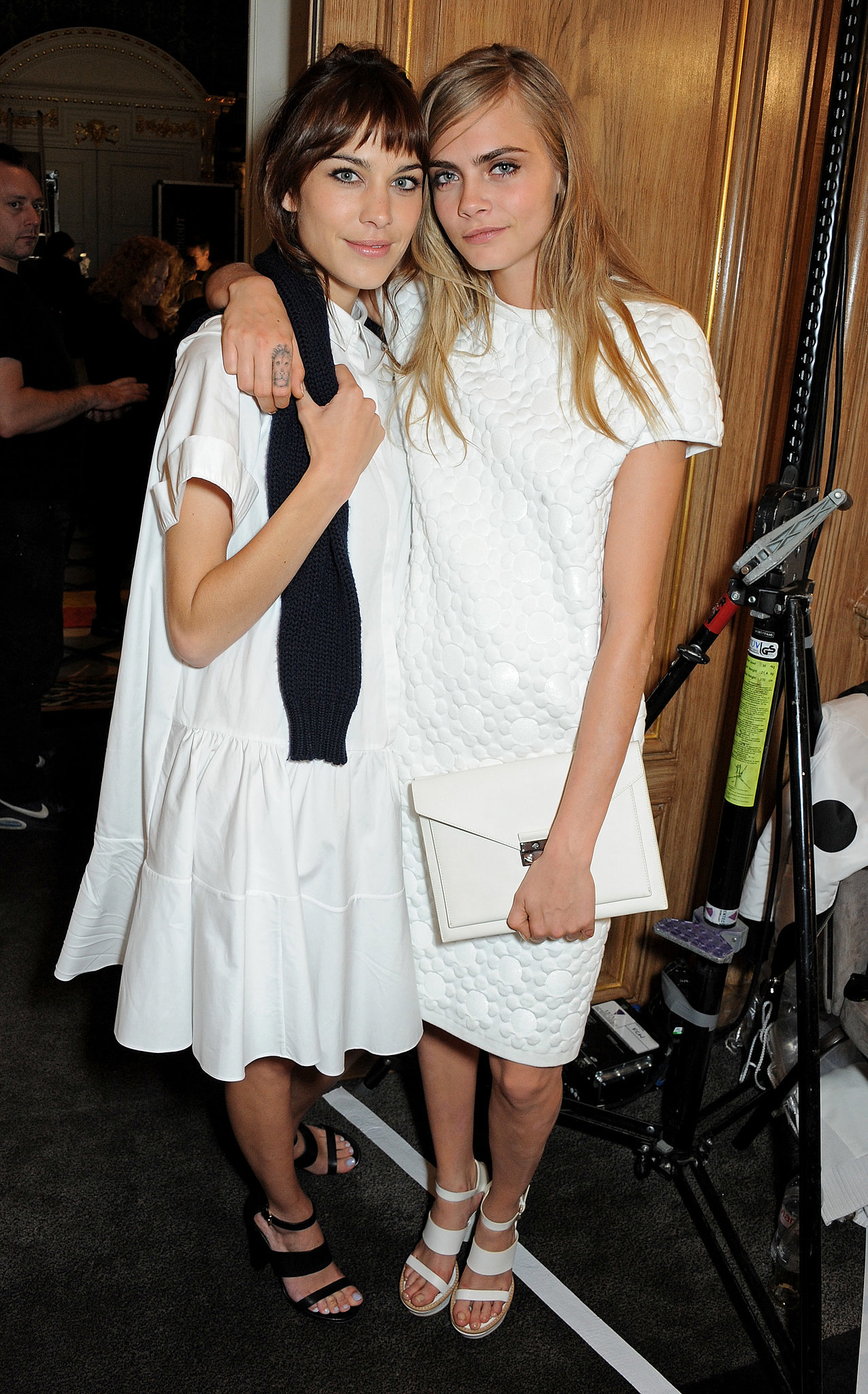 While attending the Mulberry show, Alexa Chung and Cara Delevingne were white hot in their coordinated designs.