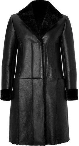 Jil Sander Navy Lambskin Coat in Black
