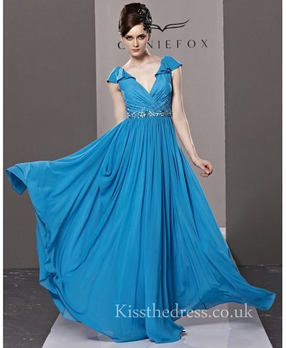 Blue Chiffon V-neck Empire Long Prom Dress CYH81219