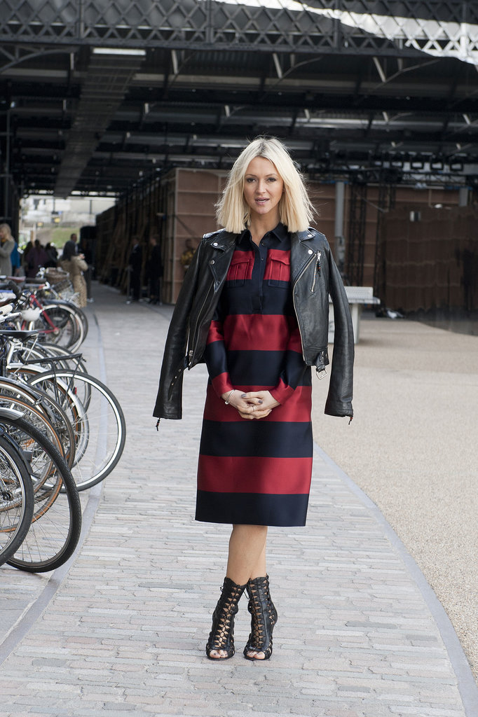 Zanna Roberts Rassi styled up her rugby-striped Burberry dress with edgy leather accents.