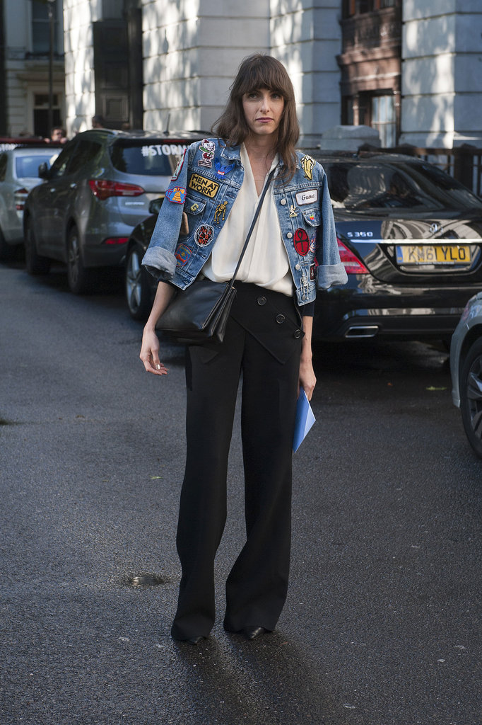 Gigi Guerra gave her trousers and top an anything-but-average finish with a patch-covered denim jacket.