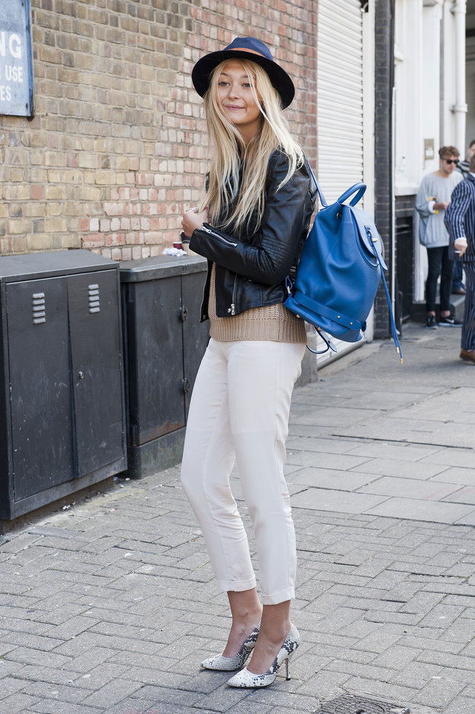 We can't get enough of her bright blue backpack.