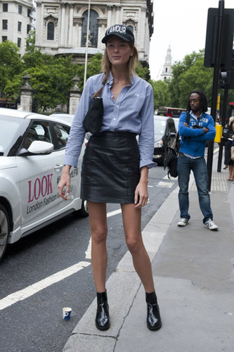 Leather skirts and button-down shirts look better together.