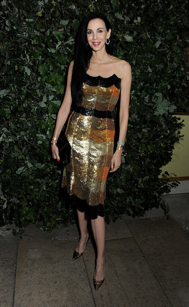 L'Wren Scott positively sparkled in her gold sequin design.