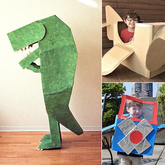 Diy cardboard box halloween costumes for Cardboard halloween decorations diy