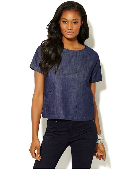 This New York & Co denim top ($45) is a polished alternative to the chambray button-down.