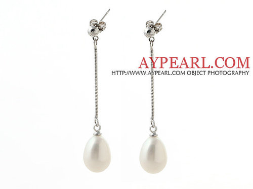 Elegant Style 10-11mm Teardrop Shape White Freshwater Pearl Dangle Earrings with Metal Chain