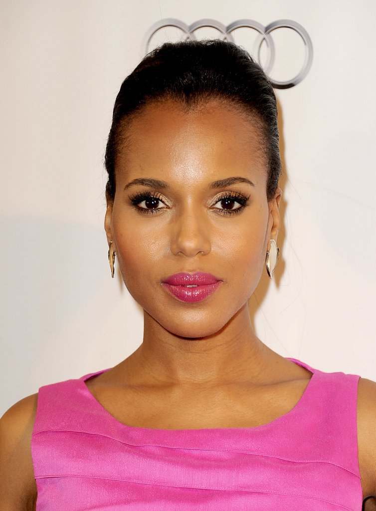 At a celebration of the 65th Emmy Award nominees, Kerry Washington paired her lipstick to her dress and swept her hair up in a sexy updo.