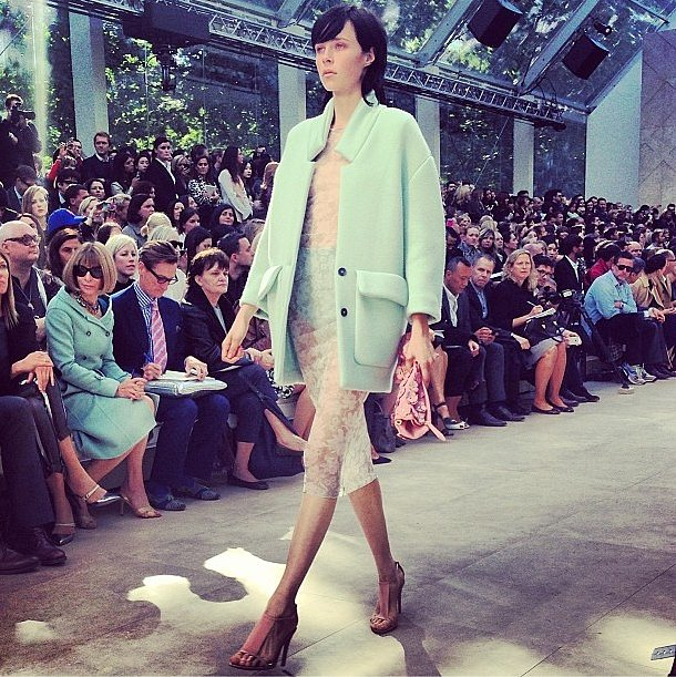 What's better than Burberry's pastel coat? How about an Anna Wintour photo bomb? Source: Instagram user poppydelevingne
