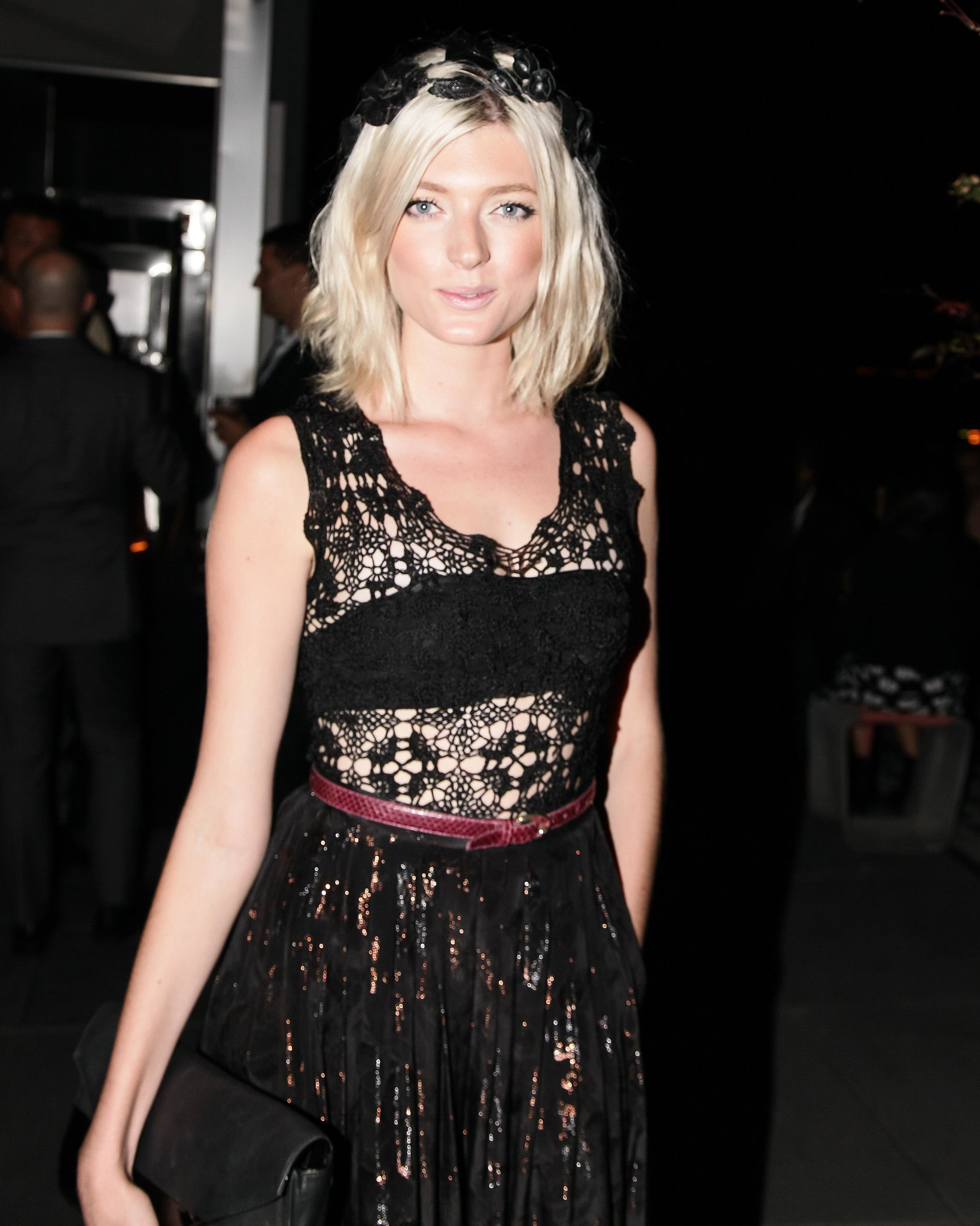 Sophie Sumner arrived for the Hotel Americano Rush afterparty in a lacy dress.