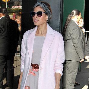 Eva Mendes Wearing Her Designs in NYC