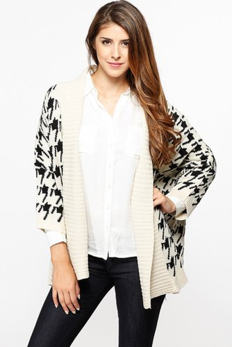 Houndstooth Print Chunky Ivory Cardigan