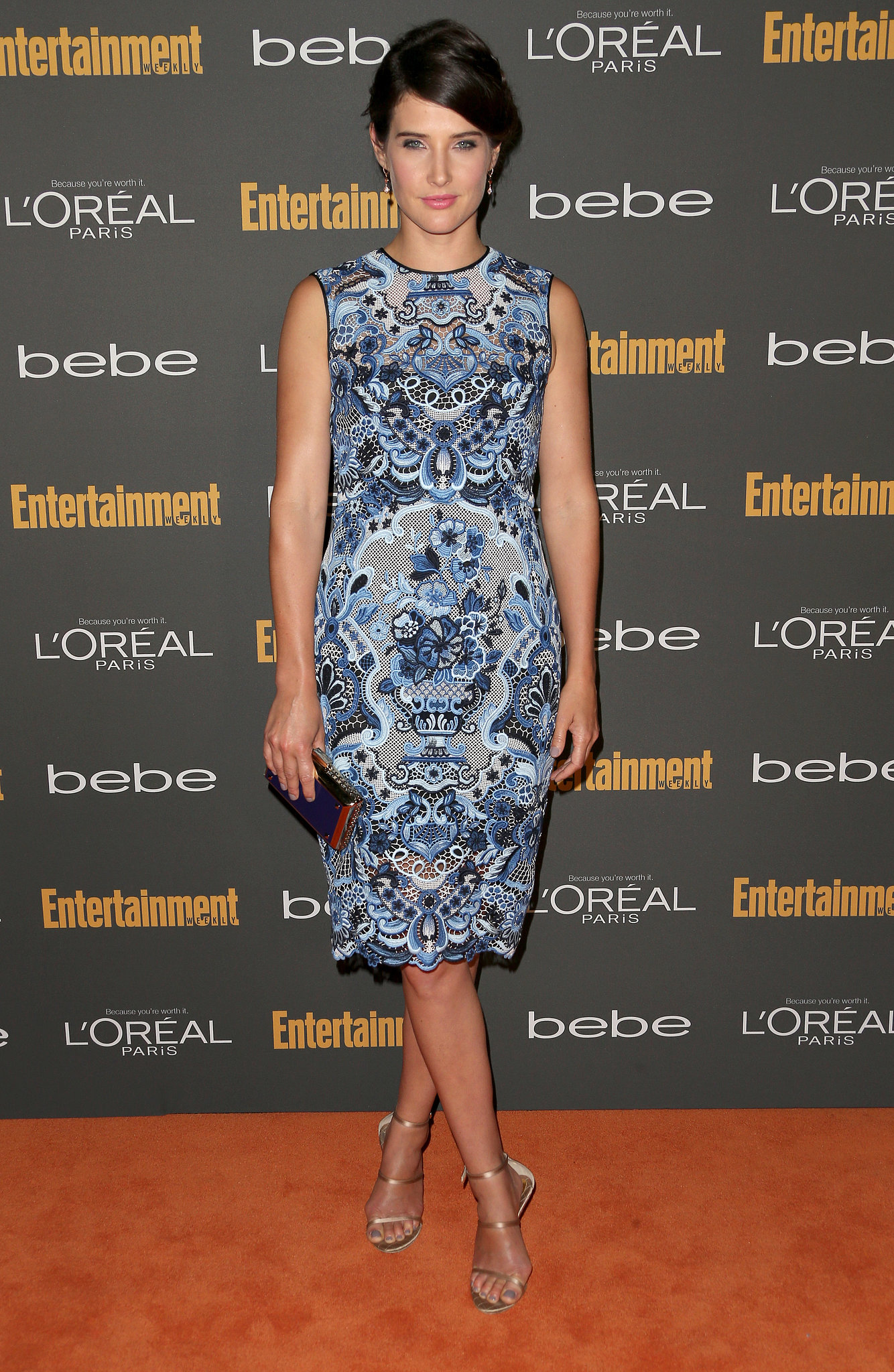 In a sea of black, Cobie Smulders popped in her blue printed sleeveless dress and metal