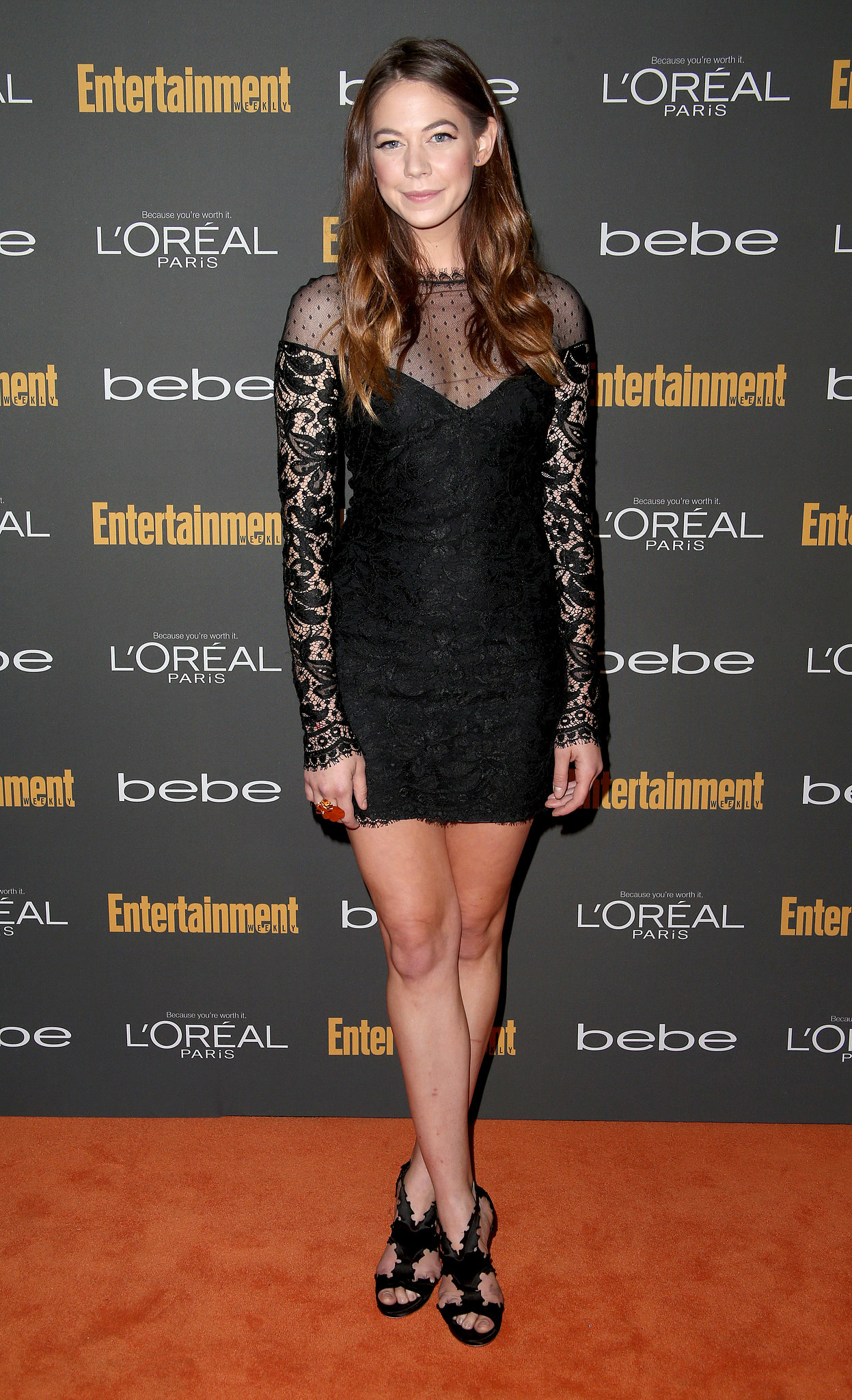Analeigh Tipton went with a black Emilio Pucci minidress wit