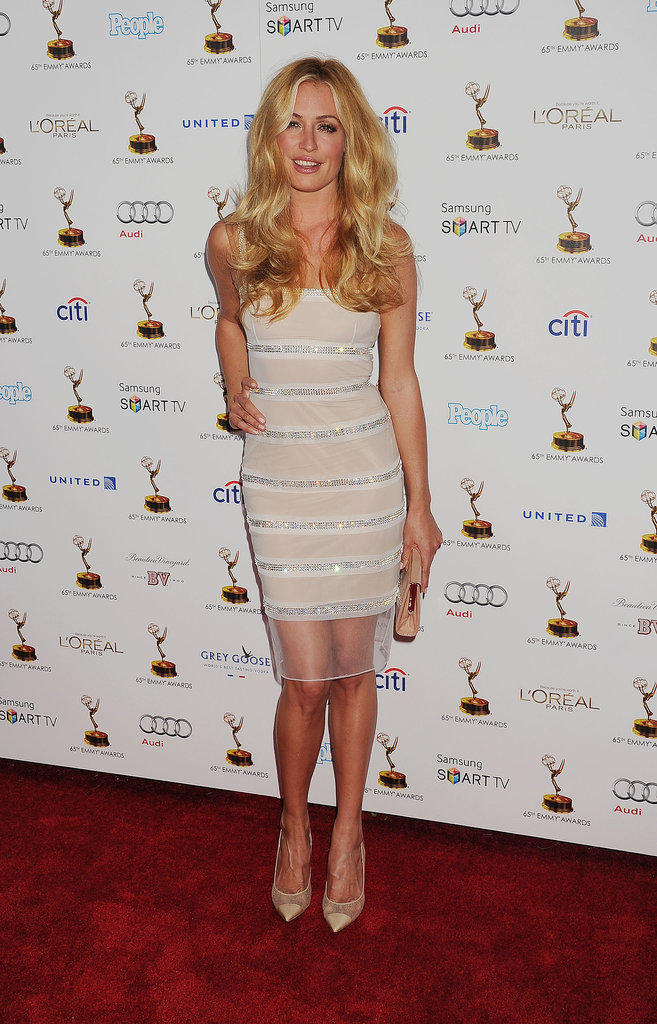 Thanks to the clear crystals on her white Azzaro dress, Cat Deeley sparkled at the 65th Emmy Awards performers nominee reception.