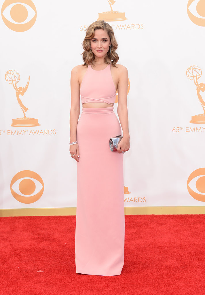 "Seems like the crop top is ""in"" in Hollywood, too! Rose Byrne flashed some stomach in this sleek Calvin Klein Collection style."