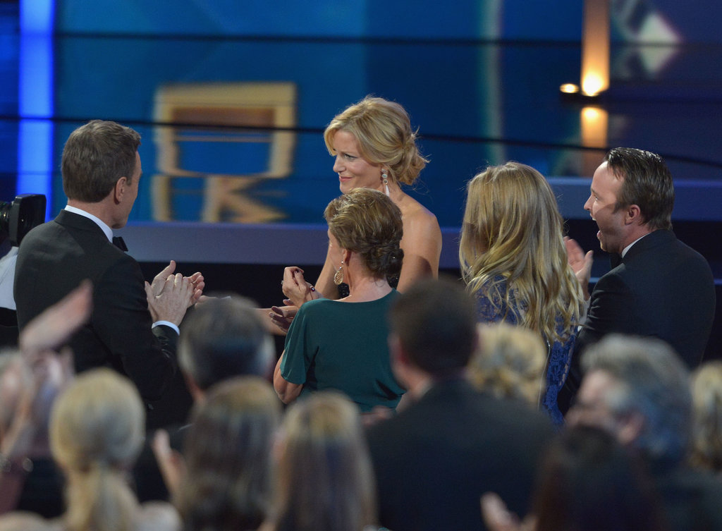 Anna Gunn and Aaron Paul celebrated in the audience.